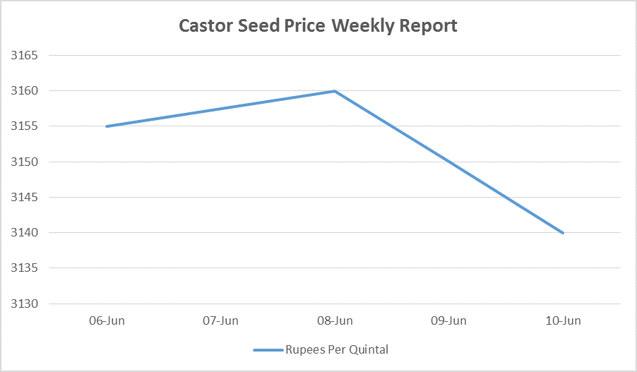 castor seed prices - jun 6 - 10, 2016